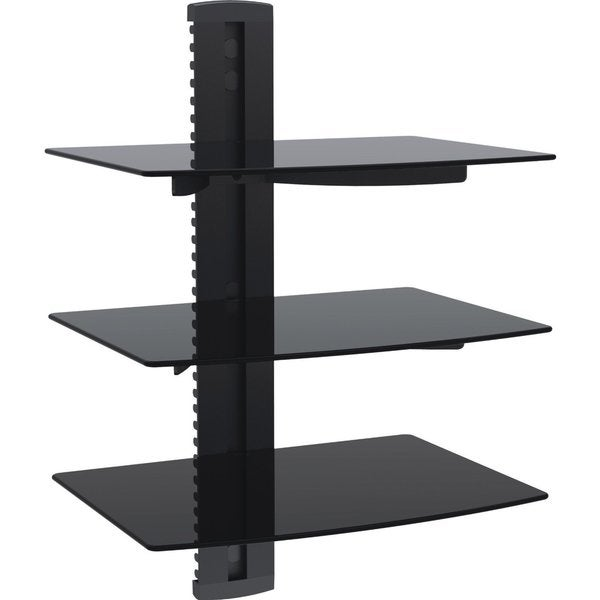 mount it wall mounted 3 shelf av component shelving system. Black Bedroom Furniture Sets. Home Design Ideas