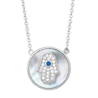 La Preciosa Sterling Silver Mother of Pearl and Cubic Zirconia Hamsa Hand Necklace