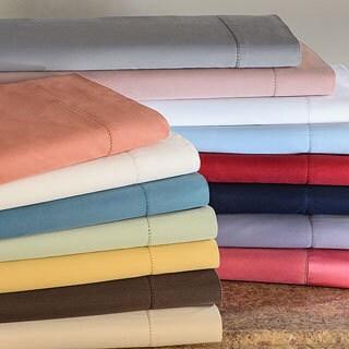 Hemstitch 400 Thread Count Sateen Cotton Sheet Set (King- Light Blue) (As Is Item)