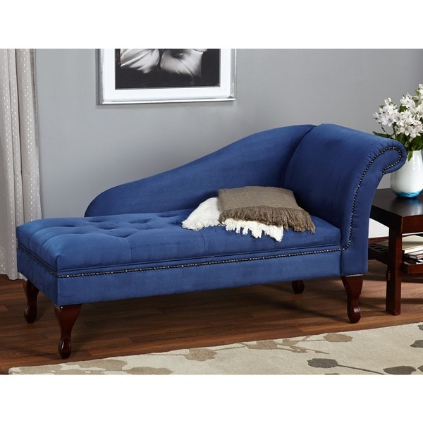Simple Living Blue Storage Chaise