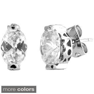 Gioelli Sterling Silver Cubic Zirconia Oval Shape Stud Earrings