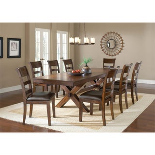Park Avenue Dark Cherry and Vinyl 9-piece Dining Set