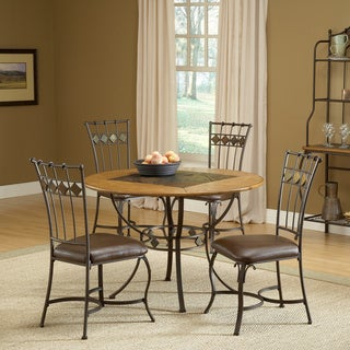 Lakeview Medium Oak 5-piece Round Dining Set with Slate Chairs
