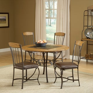 Lakeview Medium Oak 5-piece Round Dining Set with Wood Chairs