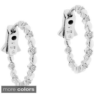 Gioelli Sterling Silver 1/8ct TDW Diamond Fancy Hoops Earrings (H-I, I2-I3)