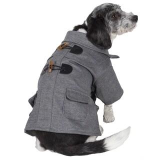 Pet Life Grey Toggle Closure Wool Pet Coat