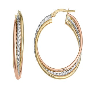 Fremada 10k Tri-color Gold Overlapping Oval Hoop Earrings