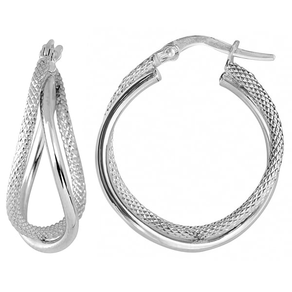 Fremada 10k White Gold Double Hoop Earrings