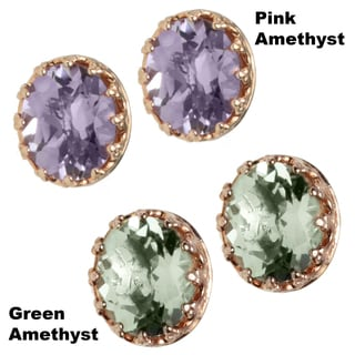 Dallas Prince Gold Over Silver Pink or Green Amethyst Earrings