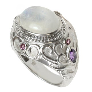 Dallas Prince Sterling Silver Moonstone, Amethyst and Pink Tourmaline Ring