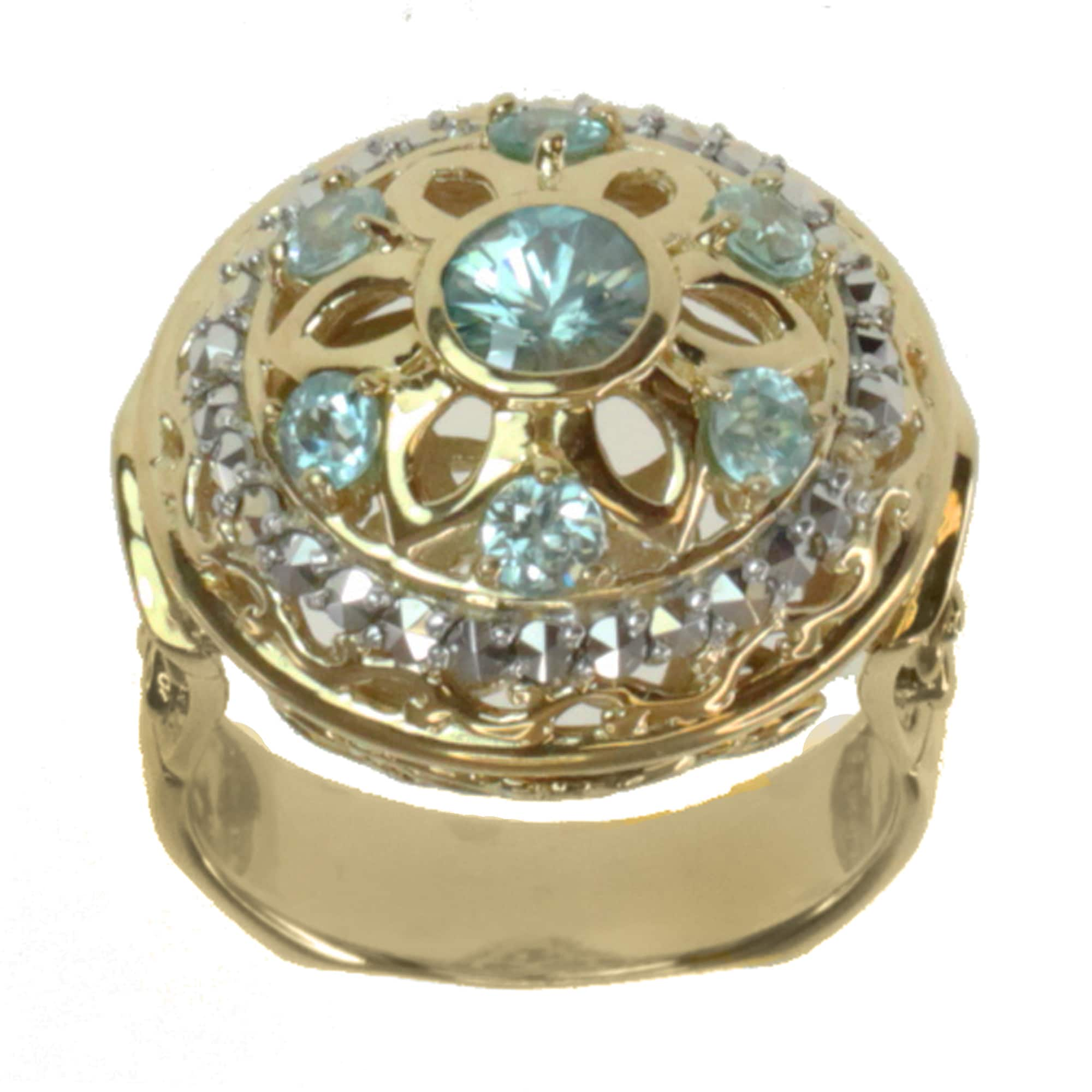 Dallas Prince Gold over Silver Blue Zircon and Marcasite Ring at Sears.com