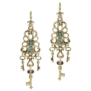 Dallas Prince Gold Over Silver Rhodolite and Blue Topaz 'Lock and Key' Earrings
