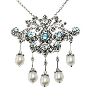 Dallas Prince Sterling Silver Swiss Blue Topaz, Marcasite and Freshwater Pearl Brooch/ Necklace (7-9 mm)