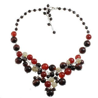 Dallas Prince Sterling Silver Garnet, Carnelian, Tiger Eye and Rutilated Quartz Necklace