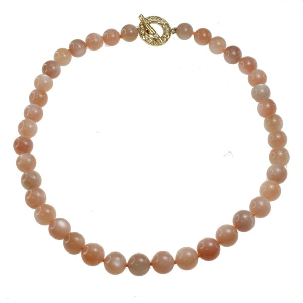 Dallas Prince Gold Over Silver Peach Moonstone Bead Necklace