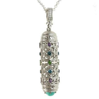 Dallas Prince Sterling Silver Amazonite, Amethyst, Chrome Diopside and London Blue Topaz Necklace