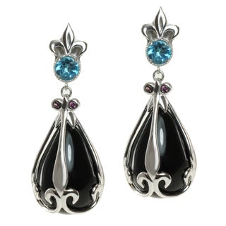 Dallas Prince Sterling Silver Black Onyx, Swiss Blue Topaz and Rhodolite Earrings