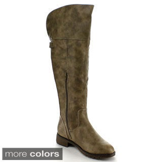 Nature Breeze Women's 'Sarah-01' Faux Leather Knee-high Riding Boots