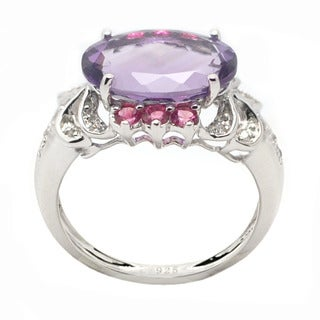 De Buman Genuine Amethyst and Created Pink Tourmaline Sterling Silver Ring