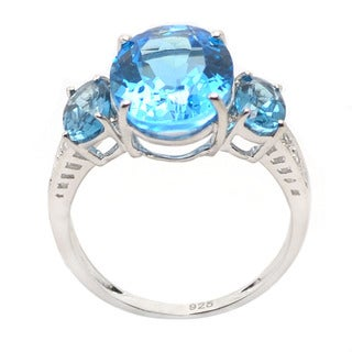 De Buman Genuine Swiss Blue Topaz and Cubic Zircornia Sterling Silver Ring