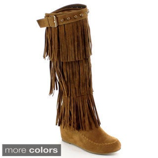 Nature Breeze Women's 'Bridget-02HI' Faux Suede Fringe Knee-high Boots