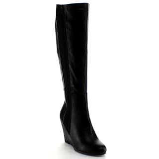 Nature Breeze Women's 'Bella' Black Over-the-Knee Wedge Boots