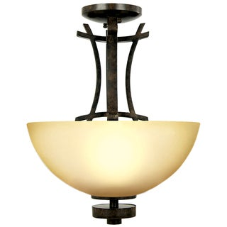 3 lights Flush Mount with Amber Scavo Glass