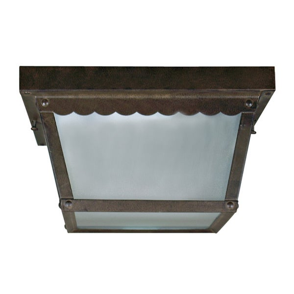 2-light Outdoor Flush Mount Ceiling Fixture with Frosted Glass