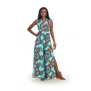 Hadari Women's Aqua Brocade V-neck Jumpsuit