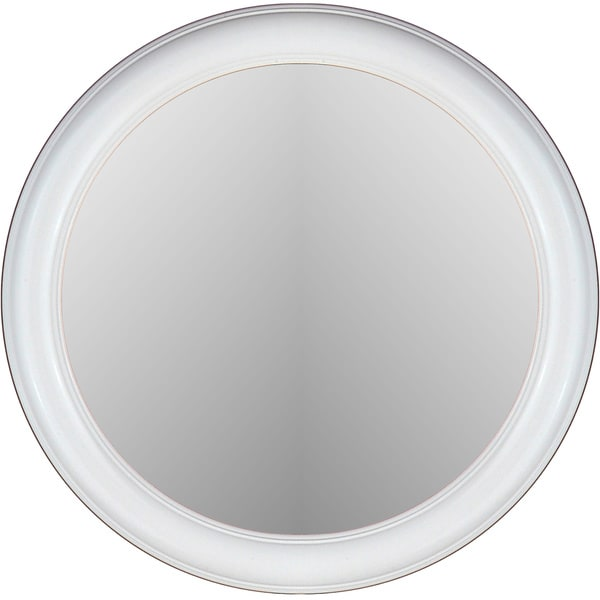Floral Glossy White Framed Round Wall Mirror