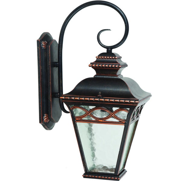 Single Light Outdoor Wall Sconce with Clear Water Medium Glass