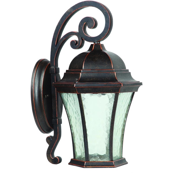 Medium Clear Water Glass Single Light Outdoor Wall Sconce