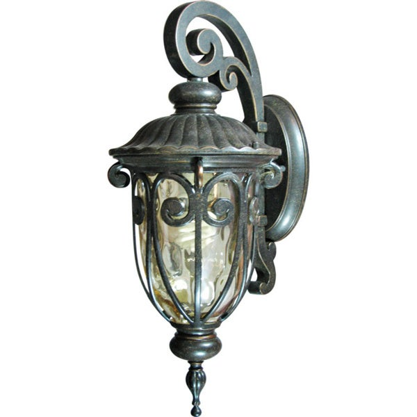Small Single Light Outdoor Wall Sconce with Gold Stone Glass