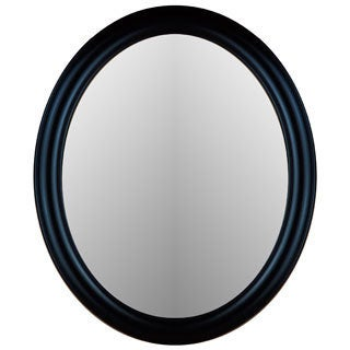 True Glossy Black Framed Oval Wall Mirror