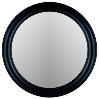True Glossy Black Frame Round Wall Mirror