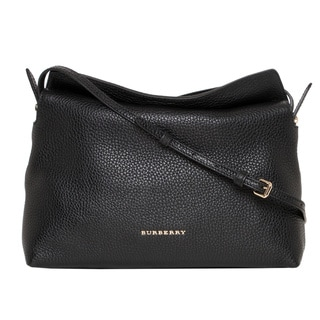 Burberry 'Leah' Small Black Grainy Leather Crossbody Bag