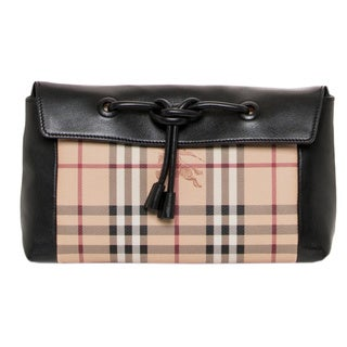 Burberry Small Leather and Haymarket Check Clutch Bag