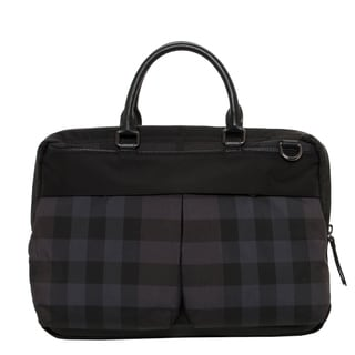 Burberry Black Beat Check Briefcase with Removable Strap