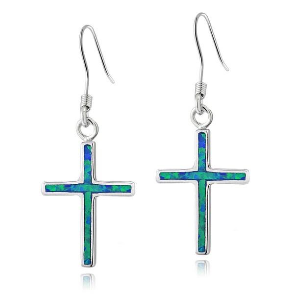 Glitzy Rocks Sterling Silver Created Blue Opal Cross Earrings
