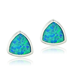 Glitzy Rocks Sterling Silver Created Blue Opal Triangle Stud Earrings