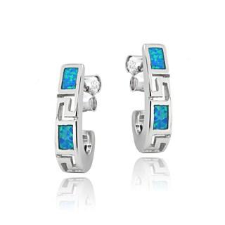 Glitzy Rocks Sterling Silver Created Blue Opal J-Style Hoop Earrings