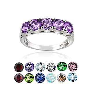 Glitzy Rocks Sterling Silver 5-stone Gemstone Eternity Ring