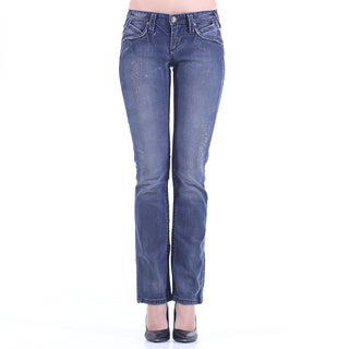 Stitch's Women's Worn Blue Wash Straight Leg Jeans