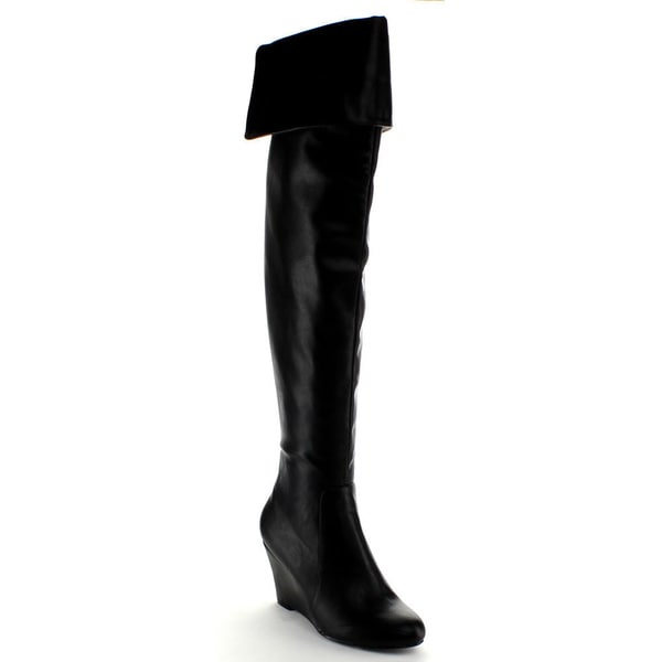 Nature Breeze Women's 'Bonnie-01H' Black Over-the-knee Wedge Boots