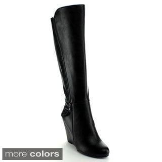 Nature Breeze Women's 'Bella-03' Knee-high Wedge Boots