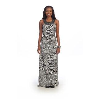Hadari Women's Brocade Sequin Halter Maxi Dress