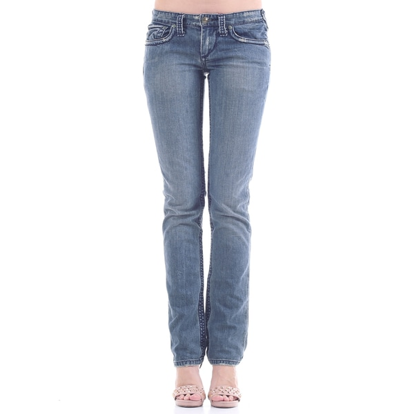 Stitch's Women's Slim Fit Blue Straight Leg Denim Pants