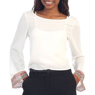 Hadari Women's White Long Sleeve Chiffon Blouse Top