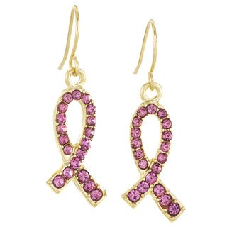 Goldplated Stainless Steel Pink Crystal Breast Cancer Awareness Ribbon Dangle Earrings