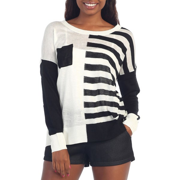 Hadari Women's Black/ White Colorblock Striped Blouse
